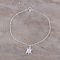 Sterling silver charm bracelet, 'Turtle Crawl' - Turtle Charm Bracelet in Sterling Silver