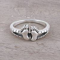 Sterling silver band ring, 'Feet' - Sterling Silver Footprint Band Ring from India