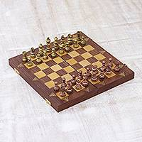 Wood chess set, 'Enchanting Amusement' - Handcrafted Chess Set in Acacia and Haldu Wood from India