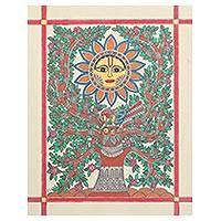 Madhubani painting, 'Source of Life' - Sun and Tree-Themed Madhubani Painting from India
