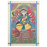 Madhubani painting, 'Durga' - Hindu Madhubani Painting of Durga from India