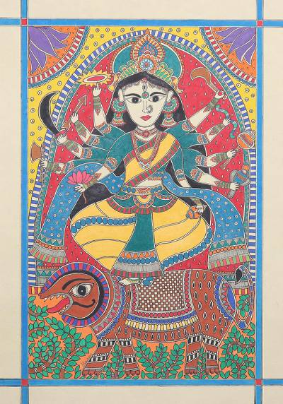 Hindu Madhubani Painting of Durga from India