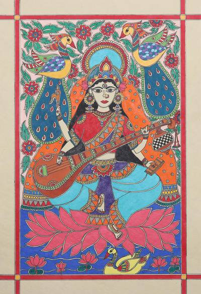 Madhubani Painting of Hindu Goddess Saraswati from India
