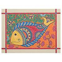Madhubani painting, 'Water World' - Fish-Themed Madhubani Painting from India