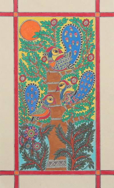 Bird and Tree-Themed Madhubani Painting from India