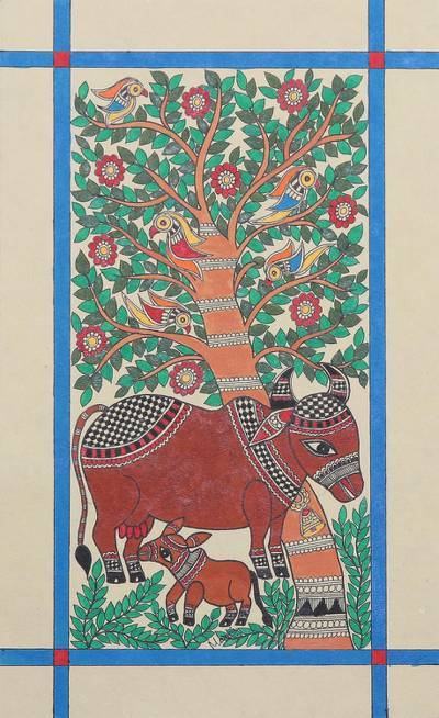 Mother and Child Madhubani Painting from India