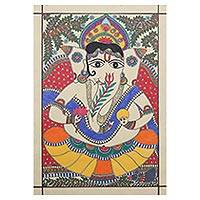 Madhubani painting, 'Pious Ganesha' - Madhubani Painting of Hindu God Ganesha from India