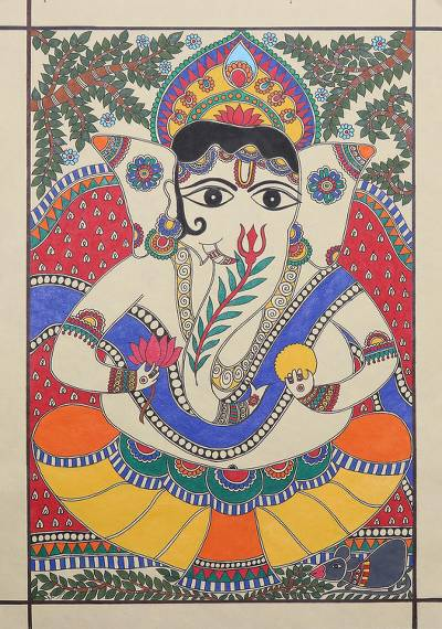Madhubani Painting of Hindu God Ganesha from India