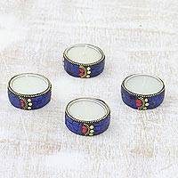 Aluminum and resin tea lights, 'Shimmering Stars' (set of 4) - Set of Four Resin Coated Tea Lights with Brass Beads