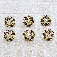 Ceramic knobs, 'Flower Bed' (set of 6) - Yellow and Red Floral Ceramic Cabinet Knobs (Set of 6)