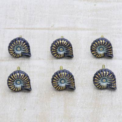 Ceramic knobs, 'Blue Snail' (set of 6) - Hand Crafted Blue Snail Ceramic Hardware Knobs (Set of 6)