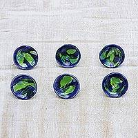 Ceramic knobs, 'Watercolor' (set of 6) - Blue and Green Abstract Drawer Pulls in Ceramic (Set of 6)