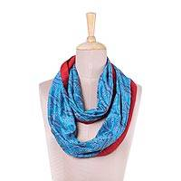 Silk infinity scarf, 'Majestic Turquoise' - Silk Infinity Scarf with Kantha Stitched Leaf Motifs