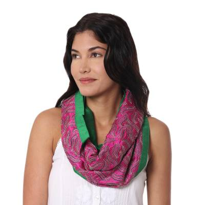 Silk infinity scarf, 'Creative Bliss in Magenta' - Handwoven Silk Infinity Scarf in Magenta and Moss Green