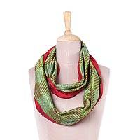 Silk infinity scarf, 'Creative Harmony' - Handwoven Silk Infinity Scarf in Avocado and Crimson