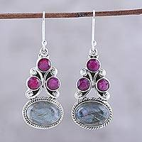 Labradorite and agate dangle earrings, 'Evening Glamour' - Labradorite and Agate Dangle Earrings from India