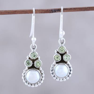 Peridot and cultured pearl dangle earrings, 'Petite Flowers' - Peridot and Cultured Pearl Dangle Earrings from India