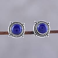 Lapis lazuli button earrings, 'Morning Crowns' - Lapis Lazuli Button Earrings from India