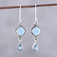Larimar and blue topaz dangle earrings, 'Queen of Diamonds' - Larimar and Blue Topaz Dangle Earrings from India