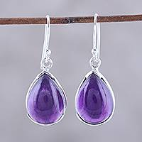 Amethyst dangle earrings, 'Purple Drops' - Teardrop Amethyst Dangle Earrings from India