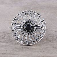 Onyx cocktail ring, 'Whirlwind' - Spiral Pattern Onyx Cocktail Ring from India