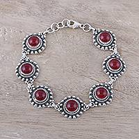 Jasper link bracelet, 'Red Mystique' - Red Jasper Link Bracelet from India