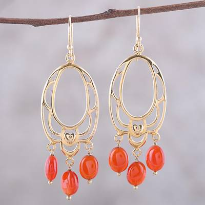 Gold plated onyx chandelier earrings, 'Orange Romance' - 22k Gold Plated Orange Onyx Chandelier Earrings from India