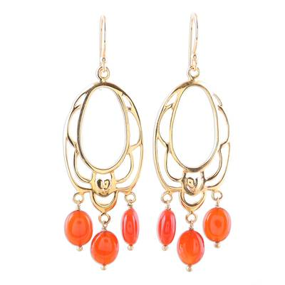 22k Gold Plated Orange Onyx Chandelier Earrings from India