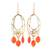Gold plated onyx chandelier earrings, 'Orange Romance' - 22k Gold Plated Orange Onyx Chandelier Earrings from India (image 2a) thumbail