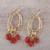 Gold plated onyx chandelier earrings, 'Orange Romance' - 22k Gold Plated Orange Onyx Chandelier Earrings from India (image 2b) thumbail