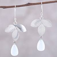 Moonstone dangle earrings, 'Misty Leaves' - Teardrop Moonstone Dangle Earrings from India