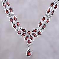 Garnet pendant necklace, 'Evening in Delhi' - 17-Carat Garnet Pendant Necklace from India