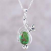 Sterling silver pendant necklace, 'Sky Secret in Green' - Sterling Silver Necklace with Green Composite Turquoise