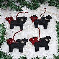 Wool felt ornaments, 'Christmas Pups' (set of 4) - Wool Felt Puppy Ornaments (Set of 4)