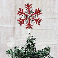 Beaded tree topper, 'Dazzling Snowflake' - Beaded Red Snowflake Motif Tree Topper