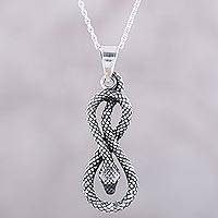 Sterling silver pendant necklace, 'Twisting Serpent' - 925 Sterling Silver Serpent Pendant Necklace from India