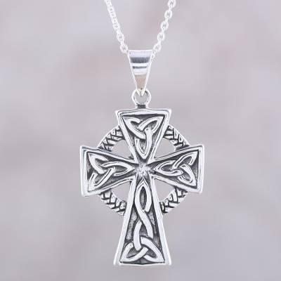 Sterling silver pendant necklace, 'Celtic Faith' - Celtic Cross Sterling Silver Pendant Necklace from India