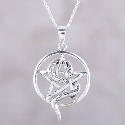 Sterling silver pendant necklace, 'Serpent and Star' - Snake and Star Sterling Silver Pendant Necklace from India