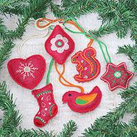 Jute ornaments, 'Holiday Fusion' (set of 6) - Set of 6 Jute Ornaments with Embroidery from India