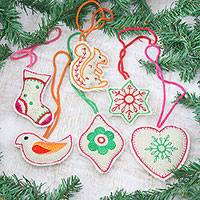 Jute ornaments, 'Holidays at Home' (set of 6) - Folk Art Style Jute Christmas Ornaments (Set of 6)