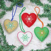 Wool felt ornaments, 'Folk Art Hearts' (set of 4) - Set of 4 Assorted Color Wool Felt Heart Ornaments