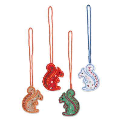 Assorted Color Squirrel Ornaments in Wool Felt (Set of 4)