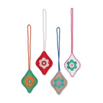 Assorted Color Wool Felt Diamond Shaped Ornaments (Set of 4)