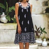 Viscose sundress, 'Gujarat Nights' - Paisley Embroidered Viscose Sundress from India