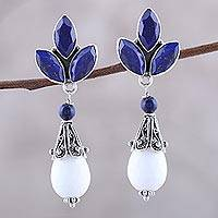 Agate and lapis lazuli dangle earrings, 'Glowing White' - Agate and Lapis Lazuli Dangle Earrings from India