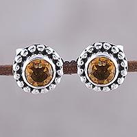 Citrine stud earrings,