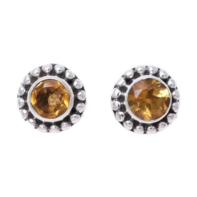 Round Citrine and Sterling Silver Dot Motif Stud Earrings