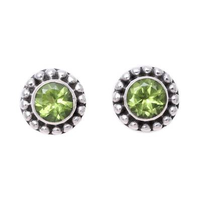 Round Peridot and Sterling Silver Dot Motif Stud Earrings