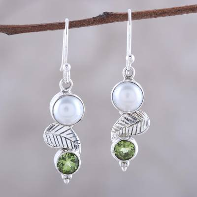 Cultured pearl and peridot dangle earrings, Moonrise Garden