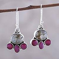Labradorite and agate dangle earrings, 'Earth Aglow' - Labradorite and Pink Agate Sterling Silver Dangle Earrings